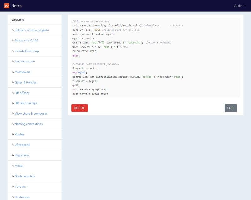 Notes aplication screenshot - General view