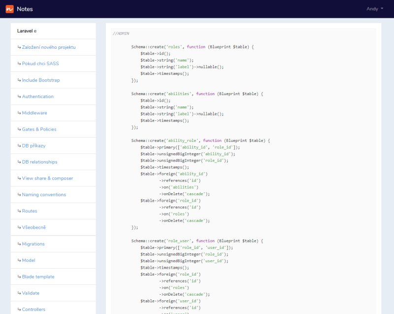Notes aplication screenshot - SQL syntax