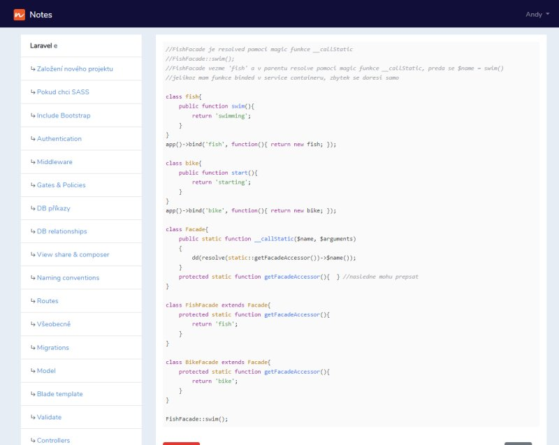 Notes aplication screenshot - PHP syntax
